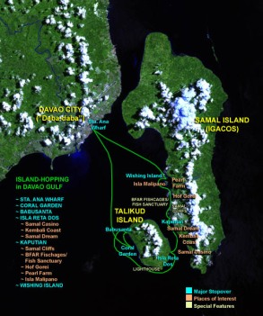 (Click to Enlarge) Tried and Tested Route on Western Davao Gulf